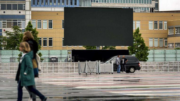 Oranjefans konden gisteren de WK-kwartfinale Nederland tegen Costa Rica bekijken op een groot scherm dat stond opgesteld in het Museumpark. Beeld anp