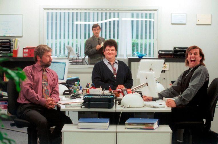 Michel Drets (Dirk Van Dijck), Guido Pallemans (Frank Focketyn), Frankie Loosveld (Wim Opbrouck) en Alain 'Protput' Vandam (Tom Van Dyck), alle vier iconen in de tv-geschiedenis. Beeld © Johan Jacobs