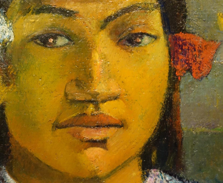 Detail uit 'Merahi metua no Tehamana (Tehamana Has Many Parents or The Ancestors of Tehamana)', Paul Gauguin (1848-1903),  1893. Beeld Collectie Art Institute Chicago