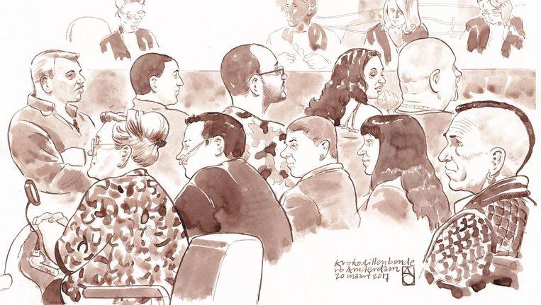 Rechtbanktekening met daarop Ferry P. (rechts). Zeven mannen en drie vrouwen uit de Krokodillenbende staan voor de rechter in Amsterdam. Beeld ANP