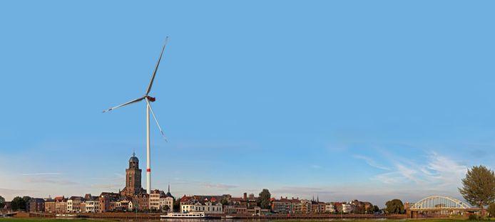 Een windmolen naast de Lebuinustoren en dat ziet er zo uit.