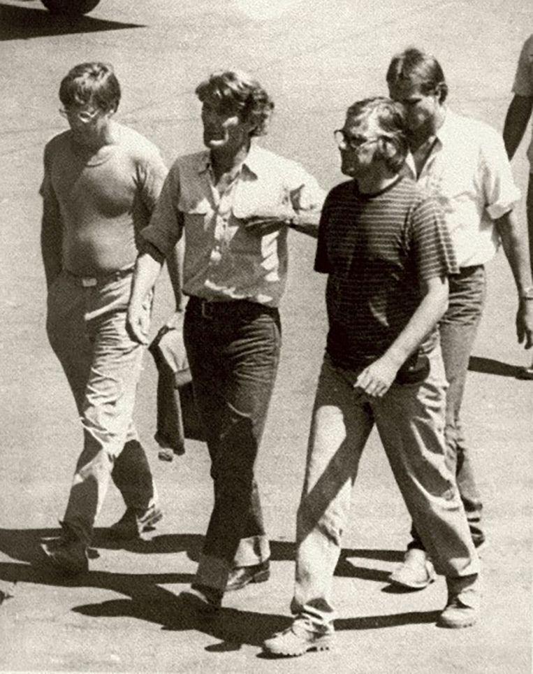 De IKON-journalisten Koos Koster, Jan Kuiper, Joop Willemsen en Hans ter Laag voordat ze werden vermoord in El Salvador. Beeld vk