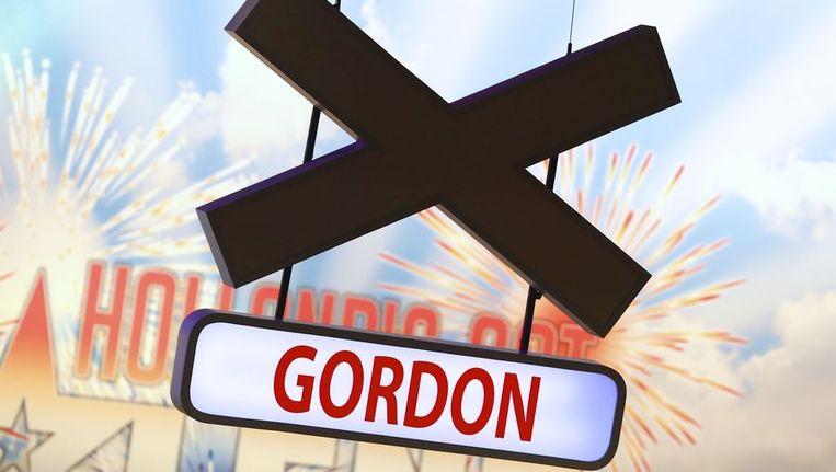 Het naambordje van Gordon bij X-Factor. Beeld ANP