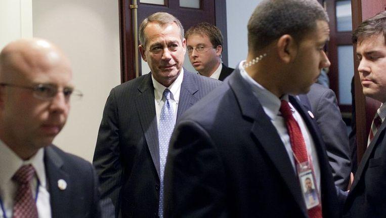 John Boehner verlaat het Huis van Afgevaardigden. Beeld afp