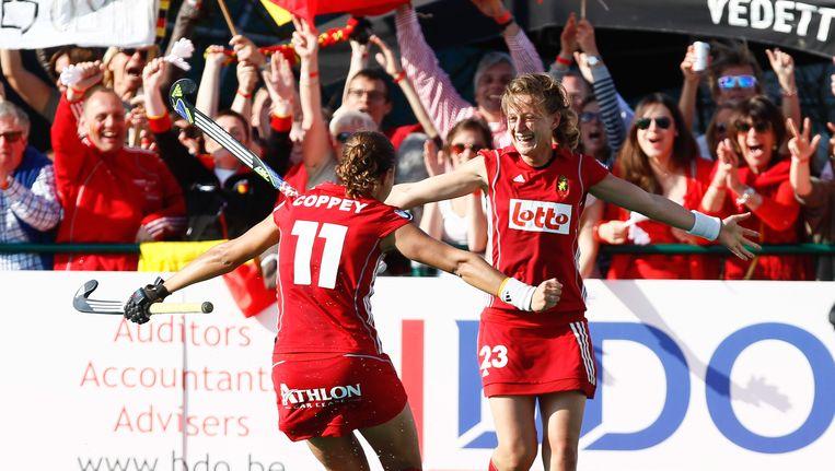 Ex-Red Panther Sofie Gierts maakte 3 van de 4 goals in de finale van het olympisch kwalificatietoernooi tegen Ierland. Beeld BELGA