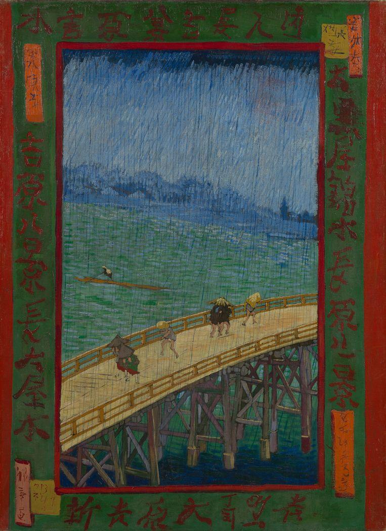 Brug in de regen. Typisch Japans, in de westerse kunst is het hooguit bewolkt. Beeld Frank Castelein