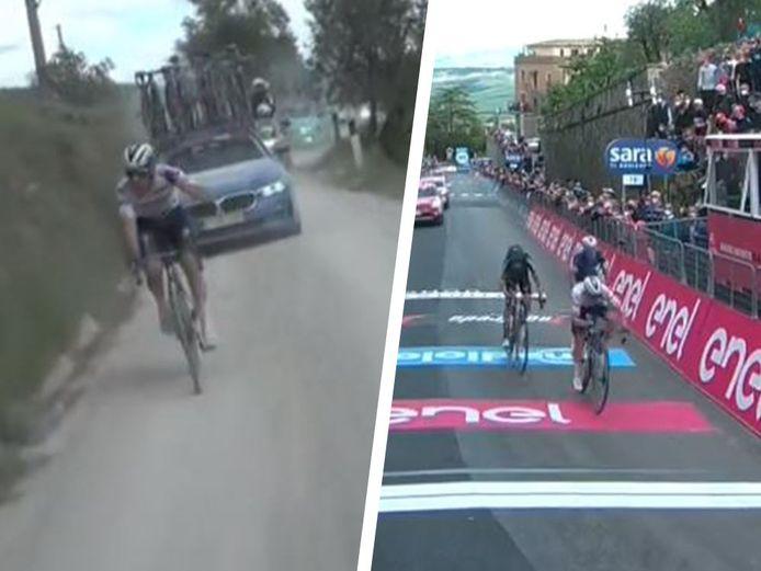 Links: Evenepoel gooit oortje weg, rechts: de aankomst van Remco.