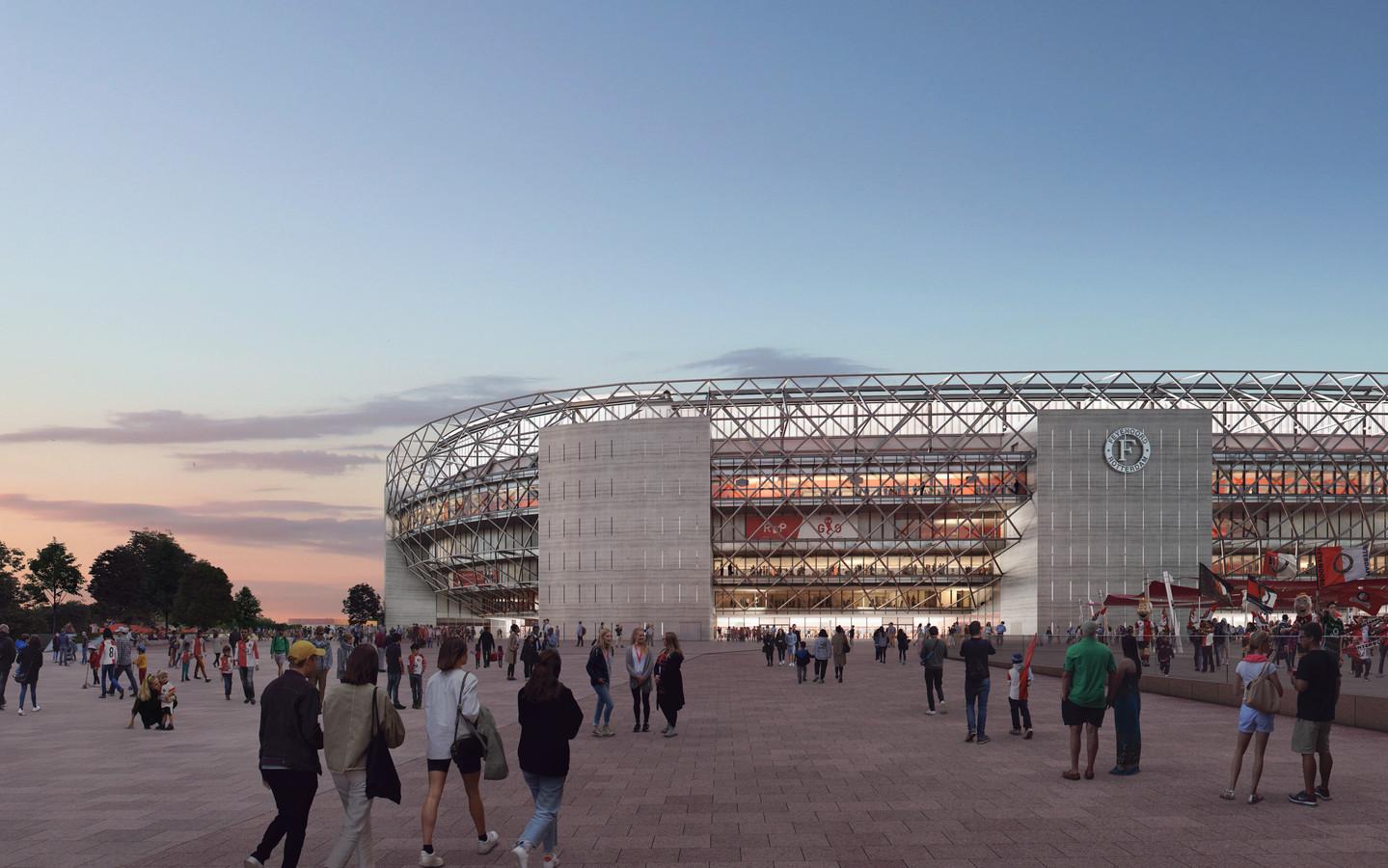 De Rosestraat, zicht op het nieuwe stadion van Feyenoord.