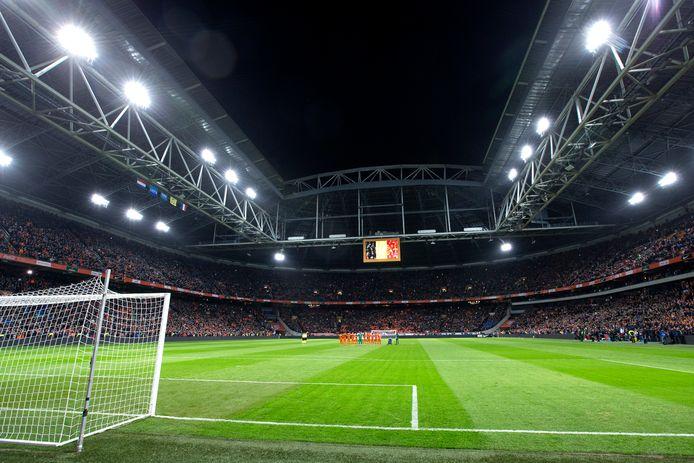 De Johan Cruijff Arena tijdens de wedstrijd Nederland-Frankrijk in maart 2016. Zondag speelt Nederland er tegen Duitsland.