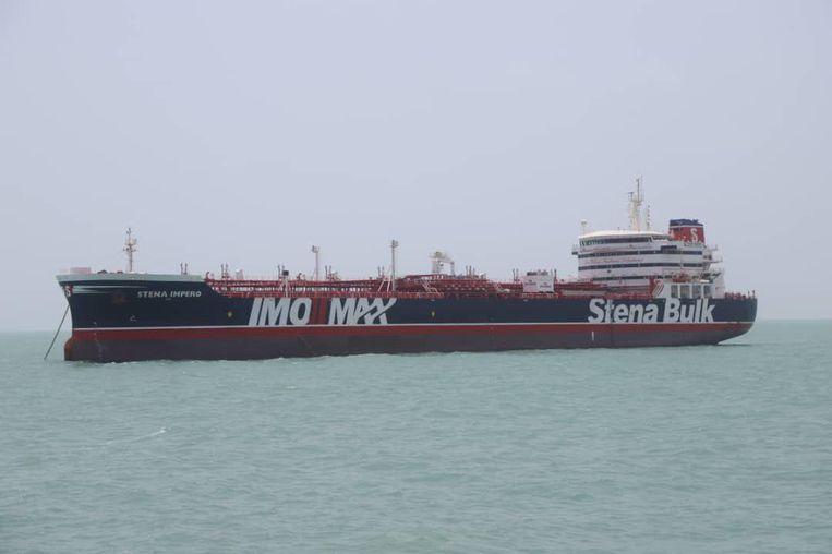 In een door Iran geleverde foto is de Britse olietanker te zien.  Beeld REUTERS