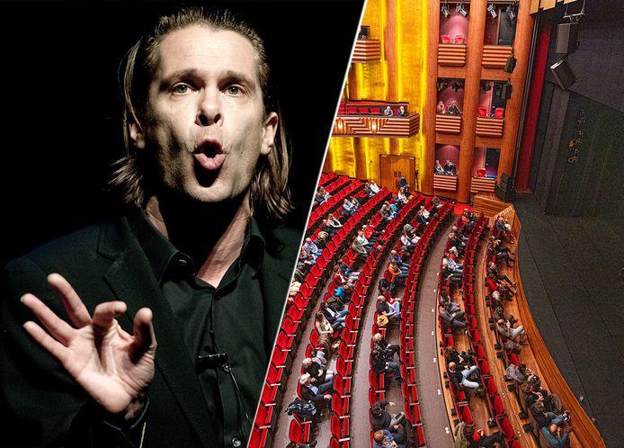 Foto ter illustratie van Hans Teeuwen, rechts: theater De Spiegel in Zwolle.