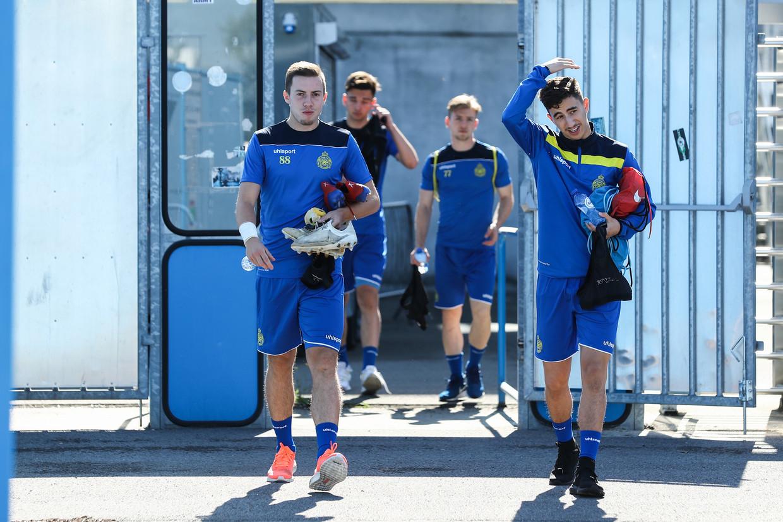 De spelers van Waasland-Beveren weten nog altijd niet in welke afdeling ze straks zullen voetballen. Beeld BELGA