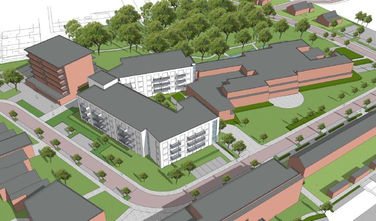Een impressie van de nieuwe situatie bij Cederhof, met in het wit de nieuwbouw. Die 76 appartementen komen op de plaats van bestaande, verouderde seniorenwoningen.