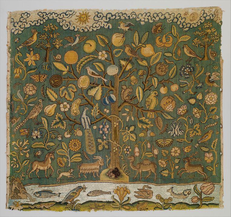 Britse levensboom gebaseerd op de Openbaringen, 17de eeuw, textiel. Beeld The Metropolitan Museum of Art