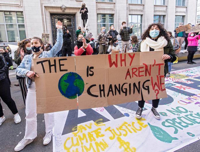 Een demonstratie van Youth for Climate in Brussel.