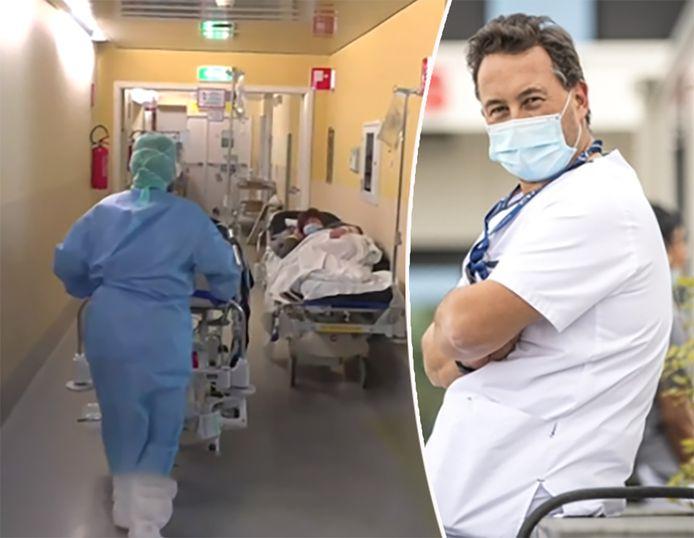 """""""Ik durf beelden van zieken op de gang, zoals in Lombardije, niet meer uit te sluiten"""", zegt Philippe Devos, hoofd intensieve zorg van CHC Luik."""