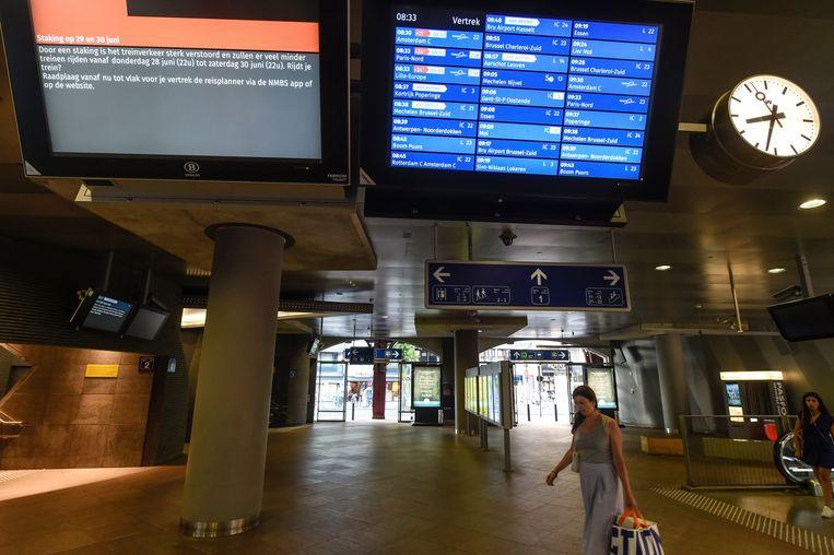 De nieuwe spoorbond Metisp-Protect heeft gisterenavond de stakingsaanzegging ondersteund van de Onafhankelijke Vakbond van het Spoorwegpersoneel (OVS) voor de periode van 10 juli, 3 uur 's ochtends, tot 12 juli, eveneens 3 uur. Beeld Photo News