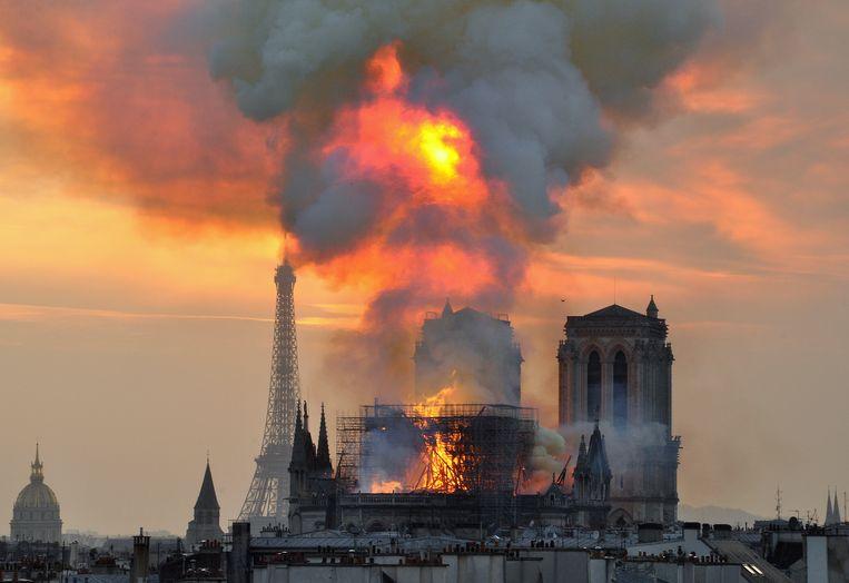 De Notre-Dame staat in brand. Beeld AP
