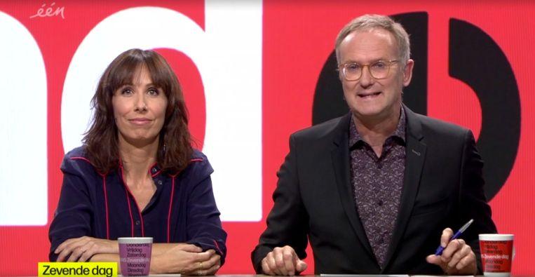 Lisbeth Imbo en Lieven Verstraete nemen dit seizoen de honneurs waar bij 'De zevende dag'. Beeld vrt