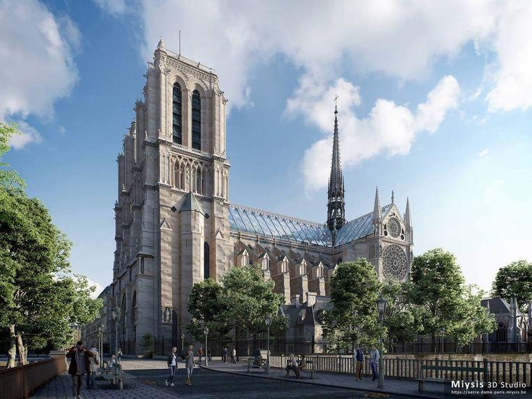 De Belgische 3D-studio Myisis wil de Notre-Dame een glazen dak geven. Beeld Myisis