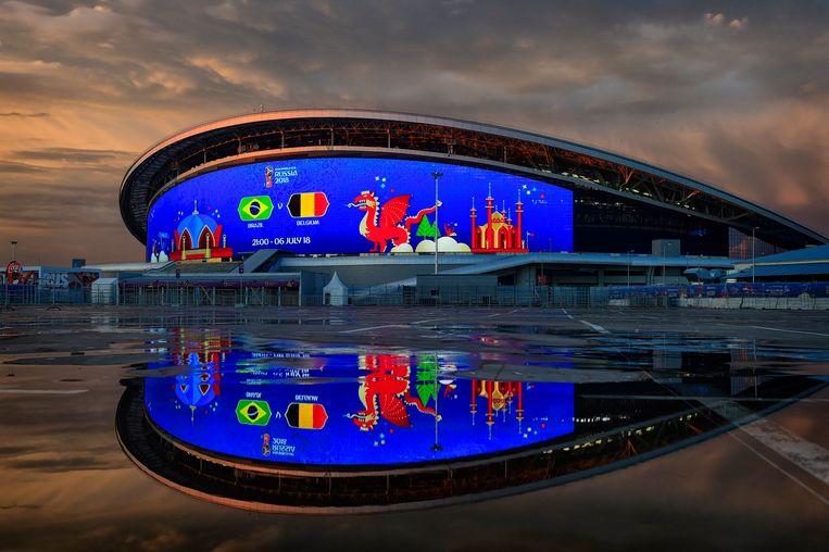 In de buurt van de Kazan Arena zijn er geen Belgische fans te bespeuren. Beeld Photo News