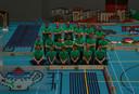 Het Dutch Domino Team poseert in de Valleihal in Veenendaal tussen de duizenden dominostenen.