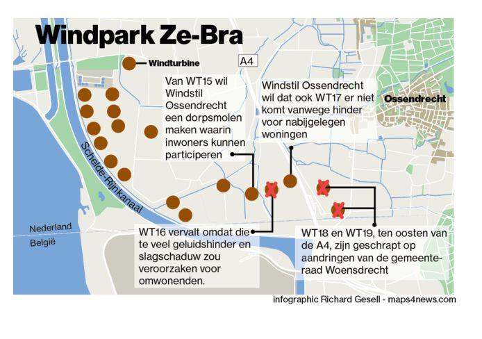 Windpark Ze-Bra krijgt volgens aangepaste plannen 14 windturbines bij Bath en 2 nabij Ossendrecht. Van de aanvankelijk 19 voorziene molens zijn er inmiddels drie geschrapt.