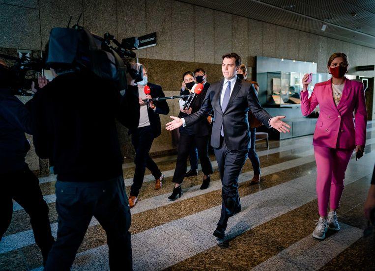 Thierry Baudet reageert op de beschuldiging van het versturen van racistische whatsappjes. Beeld ANP