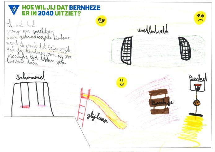 Kinderen in Bernheze maakten tekeningen van hun fijne plek of wat ze in de toekomst graag zouden willen. De tekeningen zijn te zien in het gemeentehuis.
