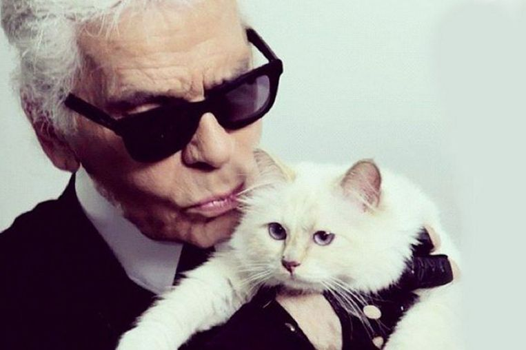 Karl Lagerfeld met zijn poes Choupette.