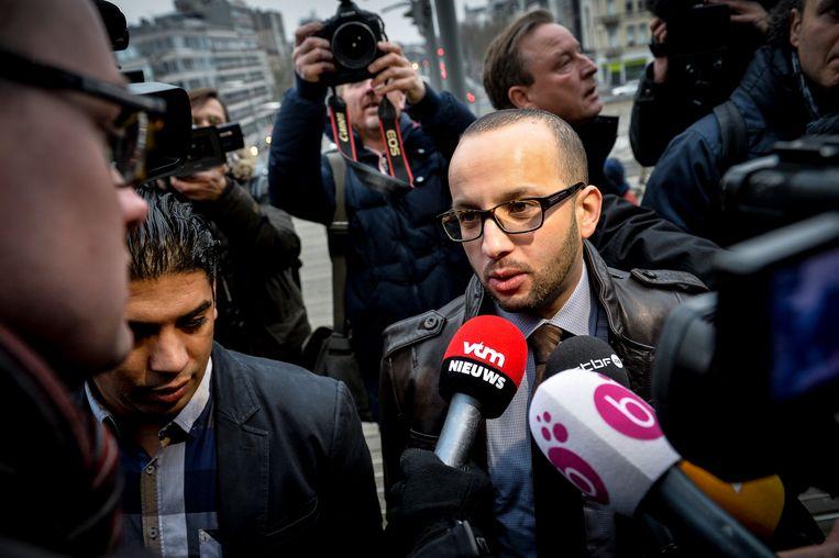 Aberrahim Lahlali als advocaat van Sharia4Belgium-leden. Beeld BELGA