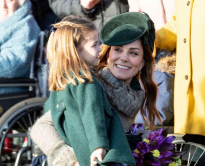 Kate Middleton met prinses Charlotte.