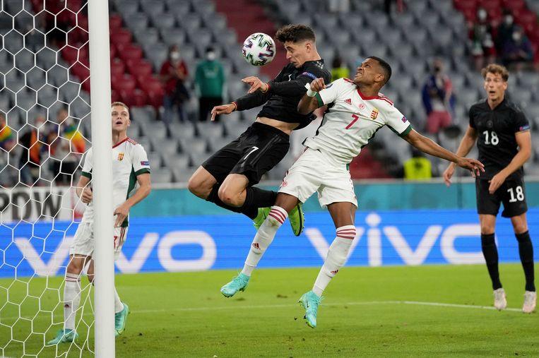 Havertz scoort tegen Hongarije. Beeld AP