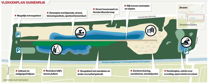 Een zogeheten vlekkenplan van recreatiepark Duinenrijk, een plan van BillyBird.
