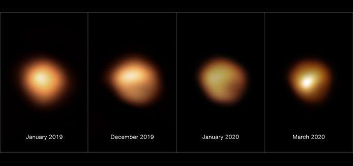 Beelden van de reuzenster Betelgeuze tijdens de 'grote verduistering' aan het einde van 2019 en het begin van 2020.