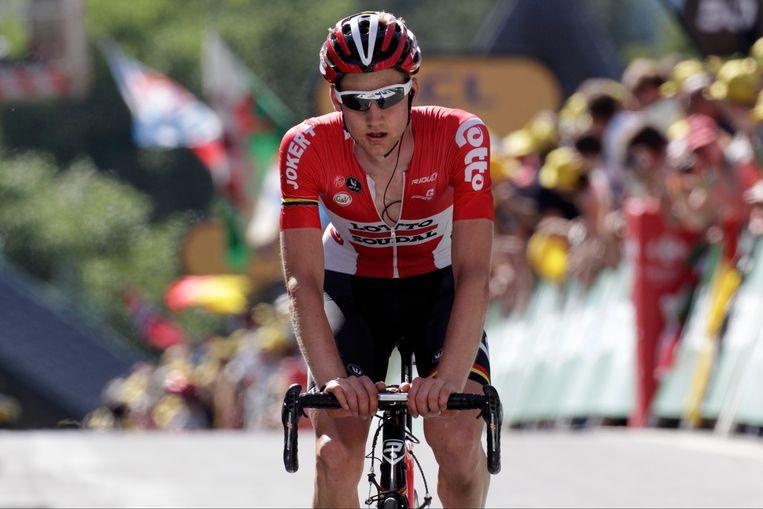 Tim Wellens bij aankomst van de 3e rit in de Ronde van Frankrijk vorig jaar. Beeld PHOTO_NEWS