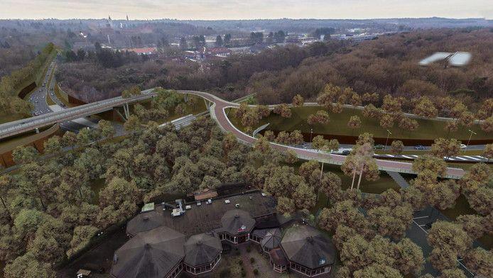 Fotomontage van een deel van de toekomstige rondweg door Amersfoort-West met de hooggelegen fietsroute en de tunnelbak die auto's onder de spoorlijn Amersfoort-Utrecht door voert.
