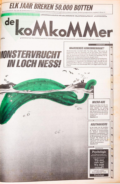 6 augustus 1987, de Komkommer-krant. Eindelijk konden we al de onderwerpen aanpakken die we voordien nooit mochten beroeren. Op naar Loch Ness! Leve augustus! Beeld Studio DM