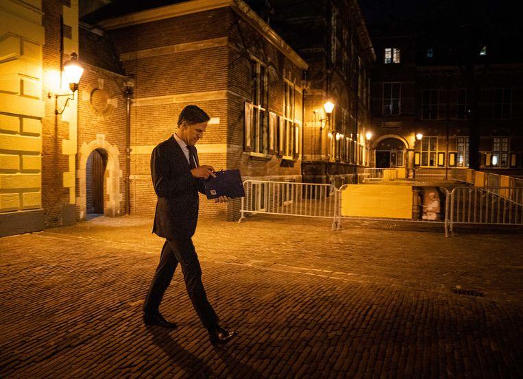 Mark Rutte (VVD) na afloop van het debat in de Tweede Kamer  over de mislukte formatieverkenning.  Beeld ANP