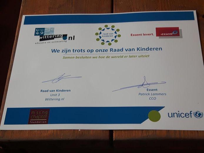 De overeenkomst voor de Raad van Kinderen bij Essen.