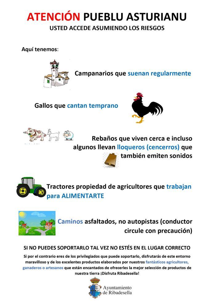 De poster die het gemeentebestuur van het Spaanse dorp Ribadesella verspreidde