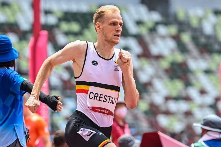 Eliott Crestan in actie op de 800 meter. (31/07/2021)  Beeld Photo News