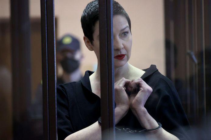 De gevangengenomen Wit-Russische oppositieleidster Maria Kolesnikova.