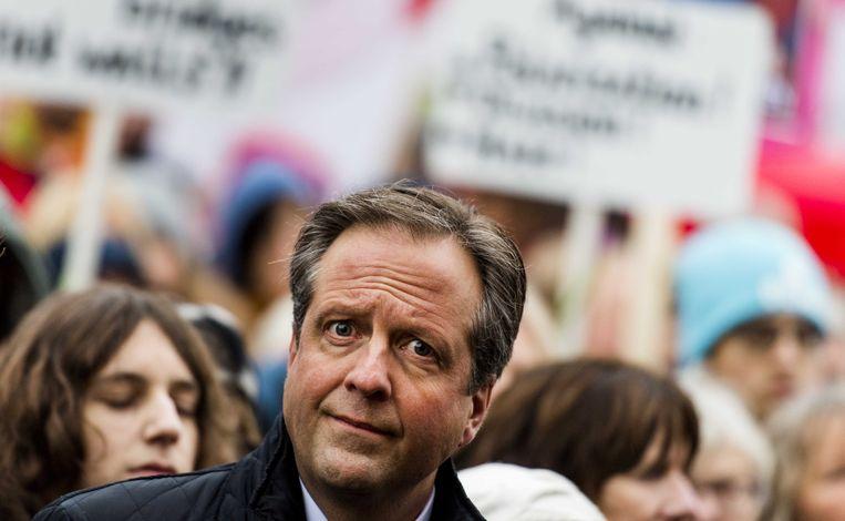 Alexander Pechtold op een demonstratie waar hij wél aanwezig was: tegen het inreisverbod van Amerikaans president Donald Trump. Beeld ANP