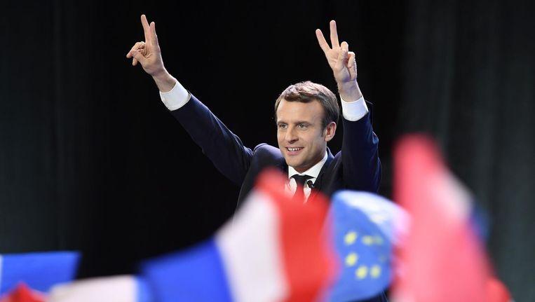 Emmanuel Macron na zijn overwinning. Beeld afp