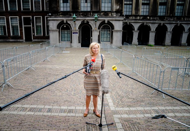 We hebben goede energie,' zei Sigrid Kaag (D66) gisteren na het weerzien met informateur Hamer. Beeld ANP