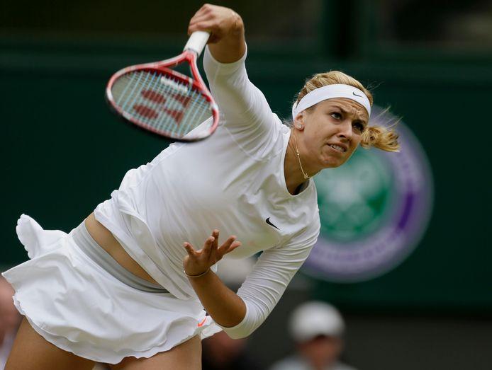 Sabine Lisicki tijdens Wimbledon 2013.