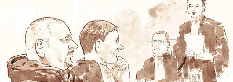 Rechtbanktekening van (VLNR) Gerard T., diens advocaat Maarten Krikke en de Officieren van Justitie Daphne van der Zwan en Michael van Leent in de rechtbank van Utrecht in de zaak tegen Gerard T., de vermoedelijke Utrechtse serieverkachter. Beeld ANP