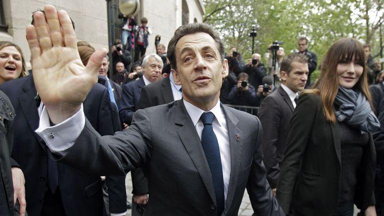 Nicolas Sarkozy met zijn vrouw Carla Bruni Beeld afp