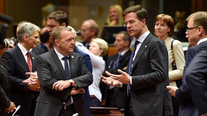 Premier Mark Rutte (rechts) bij de EU-top.